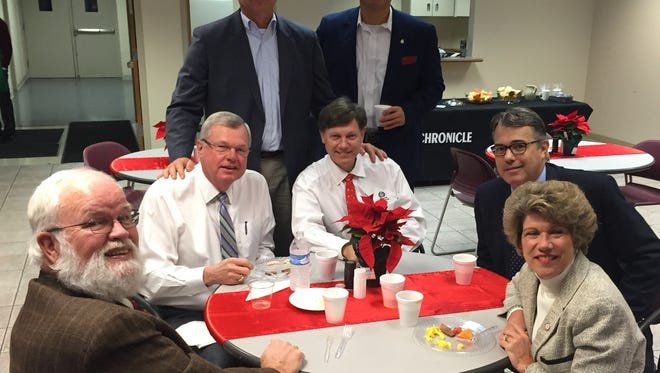 Various elected officials were among the visitors who dropped in at The Leaf-Chronicle for breakfast Tuesday morning.