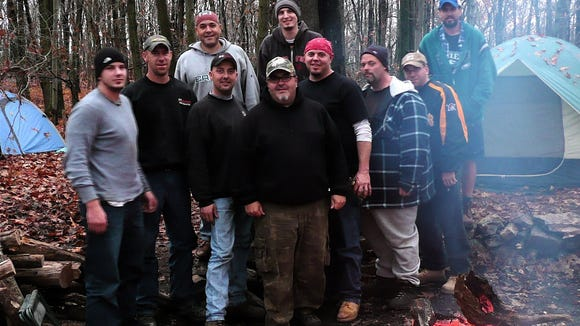 The author (front center) with a group of friends during a camping trip in 2008.
