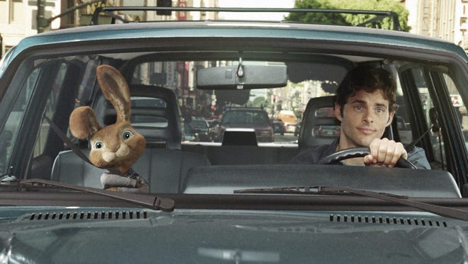 """In """"Hop,"""" the live-action/CG-animated comedy, out-of-work slacker Fred (James Marsden, right) has found himself with the world's worst houseguest: E.B. (voiced by Russell Brand), the teenage son of the Easter Bunny."""