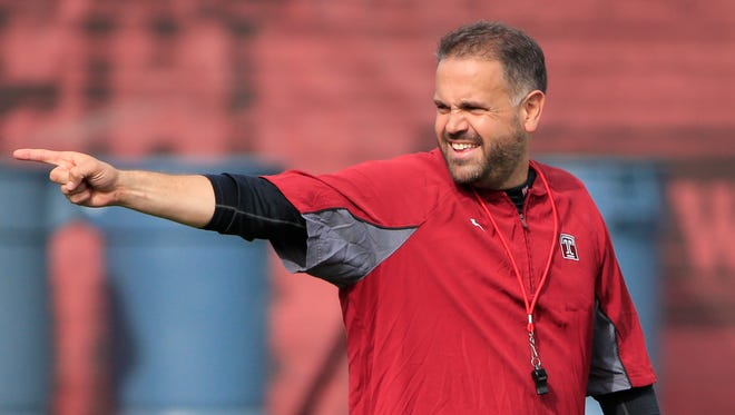 Temple head coach Matt Rhule at the NCAA college football team's practice facility, Tuesday, Oct. 27, 2015, in Philadelphia. (AP Photo/Matt Rourke)