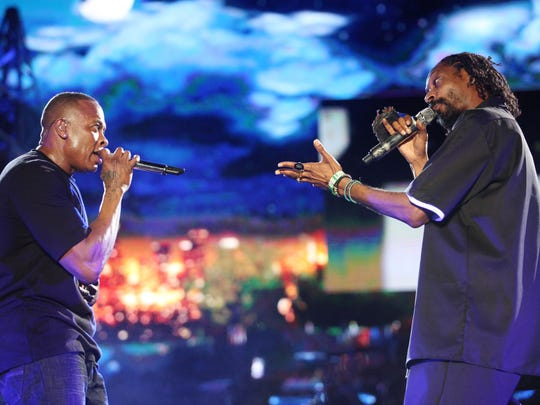 Dr. Dre and Snoop Dogg perform on the Coachella Stage during the Coachella Valley Music and Arts Festival at the Empire Polo Fields in April 2012 in Indio. The rappers surprised the crowd when they performed with a hologram of Tupac Shakur, who died in 1996.
