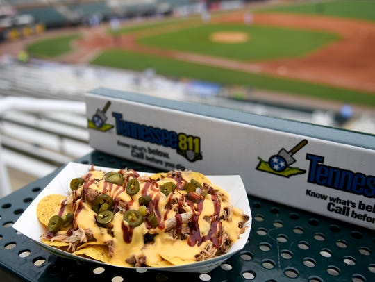BBQ Nachos are sold at the Ballpark at Jackson during