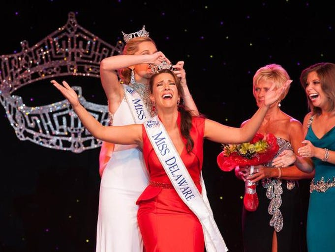 Amanda Longacre is crowned at the Miss Delaware Pageant at Dover Downs Hotel & Casino on Saturday night. Longacre - Miss Pike Creek 2014 - will compete in the Miss America pageant in September.