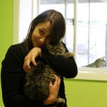 Ariel Cockerham holds Logan, a five-month-old kitten at the River City Humane Society in Monroe on Tuesday. Cockerham spent time playing with and holding cats as she looked for one to adopt. The shelter is hoping to adopt out 425 cats in 2016. As of Tuesday, 45 cats had been adopted.