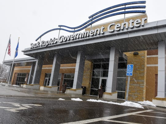 The entrance to the Sauk Rapids Government Center is
