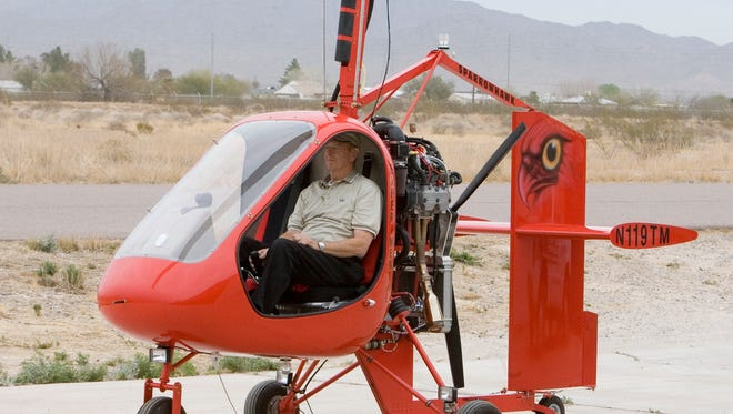 Feb. 17, 2006 - Here at Buckeye Municipal Airport at Groen Brothers Avation, this is a photo of a Sparrow Hawk Gyroplane. This small helicopter type aircraft is featured at a Wings and Wheels event at Sky Ranch in Carefree. Here with the aircraft is Lonny McClung, President of GBA Gyroplanes of Phoenix.