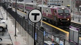A commuter rail train leaves Framingham for Boston earlier this year.