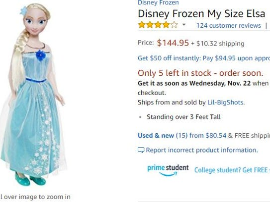 A Disney My Size Elsa doll on Amazon.