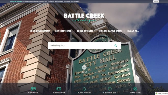 The city of Battle Creek redesigned its website.