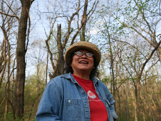 Khanh Hamilton hunts morel mushrooms in a section of woods in rural Dallas County on Wednesday, May 7, 2014.