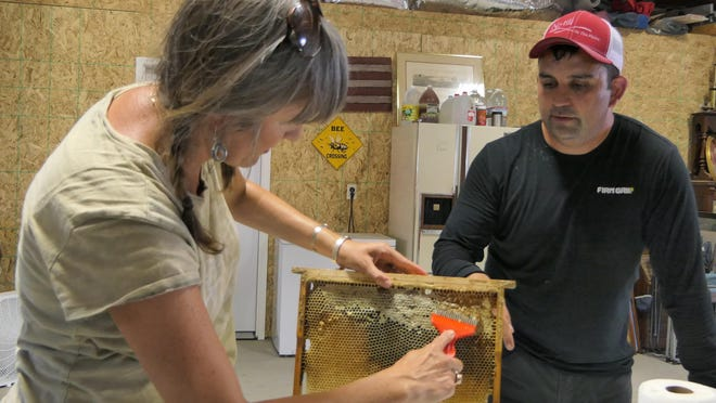 Jorge Garibay explains to Tove' Brunk how to comb honey in Windom.