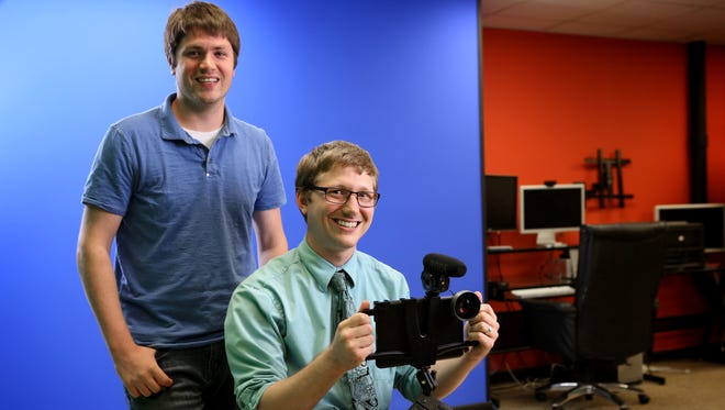 Dan Petrik, left, director of production and co-founder of Switcher Studio, and Nick Mattingly, CEO and co-founder, have created an app that allows for live video streaming from multiple iOS devices.