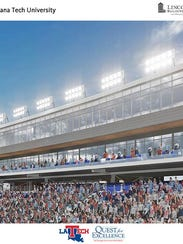 A rendering of the new press box and suites at Louisiana