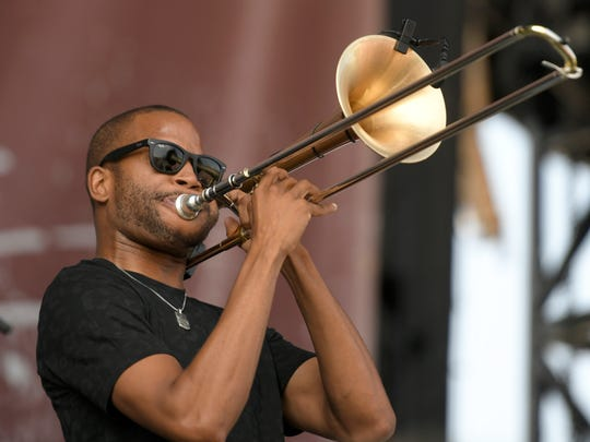 Trombone Shorty performs at Pilgrimage Music & Cultural Festival Saturday, Sept. 23, 2017 at The Park at Harlinsdale in Franklin, Tenn.