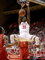 Indiana Hoosiers center Thomas Bryant (31) slams down two points on Austin Peay Governors.