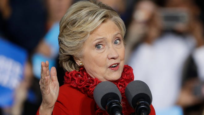 Hillary Clinton in Cincinnati on Oct. 31, 2016.