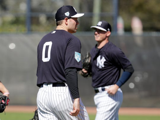 New York Yankees pitcher Adam Ottavino (0) does drills at the Yankees spring training baseball facility, Thursday, Feb. 14, 2019, in Tampa, Fla. Ottavino is the first player to wear the number zero for the Yankees. (AP Photo/Lynne Sladky)
