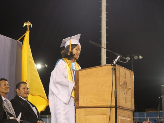 Valedictorian Yoni Xiong delivers her speech at Friday's