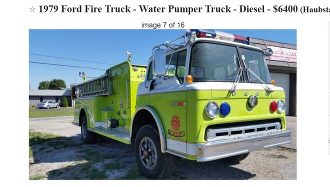 A firetruck is for sale in Haubstadt.