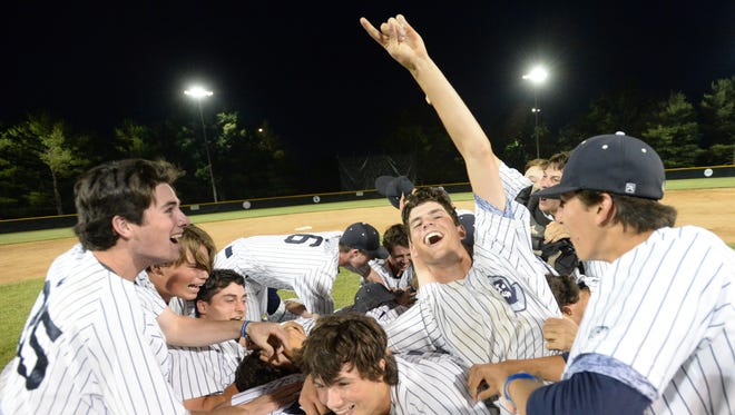 St. Augustine celebrates after defeating Delbarton 1-0 in the Non-Public A state final at Veterans Park in Hamilton on Saturday.