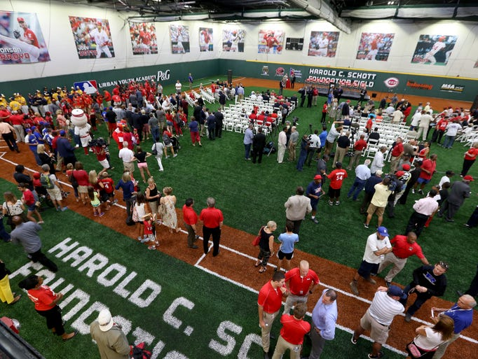 A grand opening ceremony for The Joey Votto Training Center at the P&G Cincinnati MLB Urban Youth Academy in Roselawn Friday.