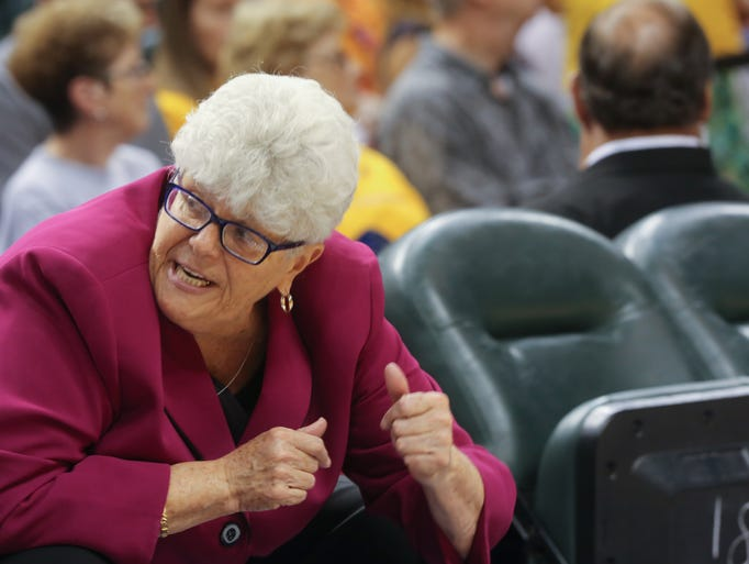 Thursday July 10th, 2014, Fever Head Coach, Lin Dunn communicates instructions to players. The Indiana Fever VS The Connecticut Sun, at Bankers Life Fieldhouse. Final score, Fever 72, Sun 68.