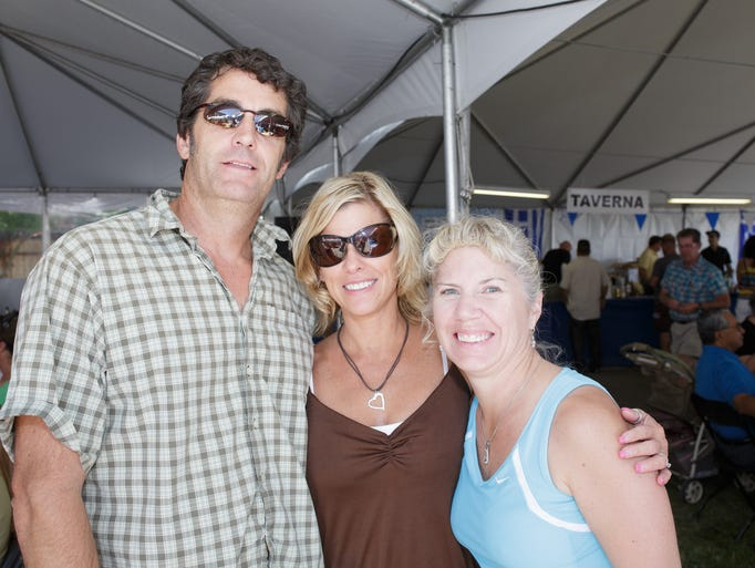 Left to right, Jon Heisler, Pam Heisler, and Heather Flowers at the 27th annual Reno Greek Festival.