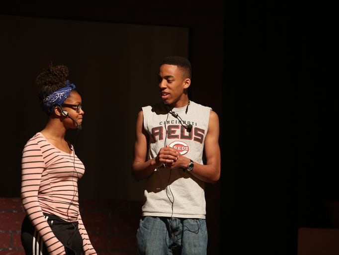From right, Sheridan Alexander, playing Seymour and Somoya Jimerson, playing Audrey, rehearse a scene from Little Shop of Horrors at Peekskill High School April 16, 2014.