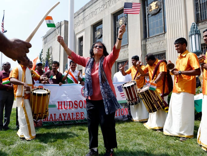 Vijaya Deshpand of New City, originally from Bombay, India, dances at the annual India Day festival, Aug. 16, 2014 at the Rockland County Courthouse grounds in New City. The India Cultural Society of Rockland started off with a parade on Main Street followed by a cultural program and Indian vendors at the festival.