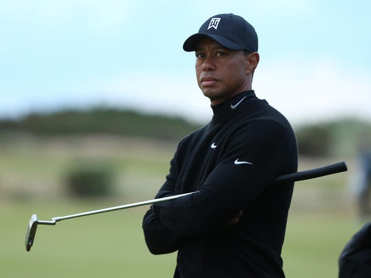 Tiger Woods of the United States looks on from the
