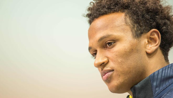 Mar 3, 2017; Indianapolis, IN, USA; Notre Dame quarterback Deshone Kizer speaks to the media during the 2017 combine at Indiana Convention Center. Mandatory Credit: Trevor Ruszkowski-USA TODAY Sports