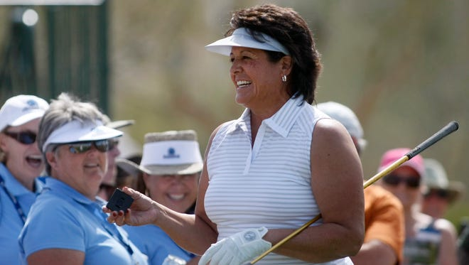 Pro golfer Nancy Lopez interacts with the crowd during the RR Donnelley LPGA Founders cup Pro-Am at JW Desert Ridge Resort in Phoenix.