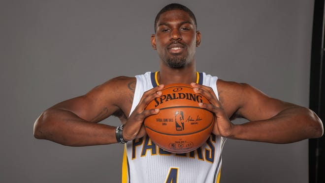 Sep 26, 2016; Indianapolis, IN, USA; Indiana Pacers forward Alex Poythress (4) poses for photos during media day at  Bankers Life Fieldhouse.
