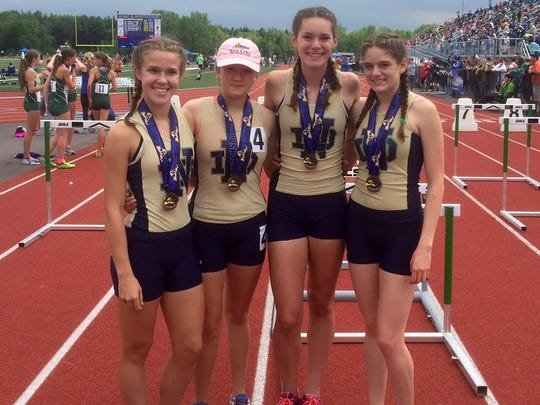 The Elmira Notre Dame girls 3,200 relay team of Chase Yoder, Emma Booth, Payton Yoder and Camille VanderMeer broke a school record and finished fifth in Division II on June 11 at the New York state track and field championships at Cicero-North Syracuse High School.