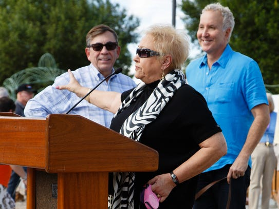 Councilwoman Ginny Foat speaks at the reopening ceremony
