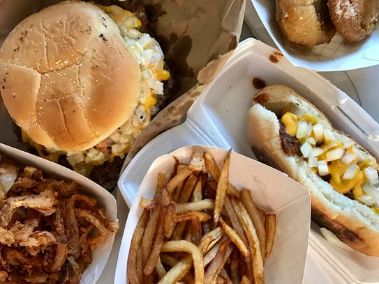A greasy smorgasbord from Butch's Famous Burgers in