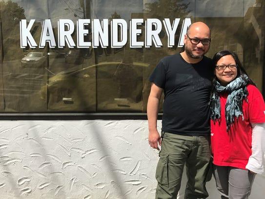 Owners Paolo Mendoza and Cheryl Baun outside Karenderya, a Filipino restaurant in Nyack.