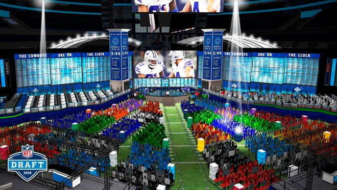 Computer rendering provided by the NFL shows the view looking towards the stage of the 2018 NFL draft at AT&T Stadium in Arlington, Texas.