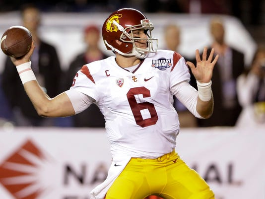 Southern California quarterback Cody Kessler throws a pass during the first half of the Holiday Bowl NCAA college football game against Wisconsin on Wednesday, Dec. 30, 2015, in San Diego. (AP Photo/Gregory Bull)