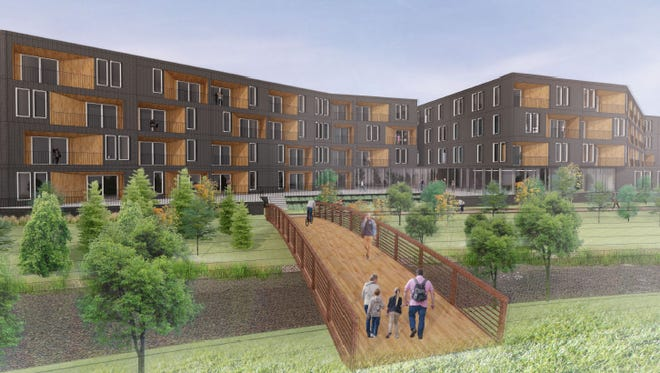 The four-story, 118-unit Mill Reserve Apartments would overlook the Fox River in downtown Waukesha.