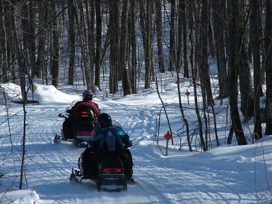 Snowmobiling in Rusk County.