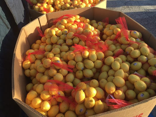 Lemons were just one of several food items distributed