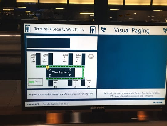 Flight information screens in the terminals at Phoenix