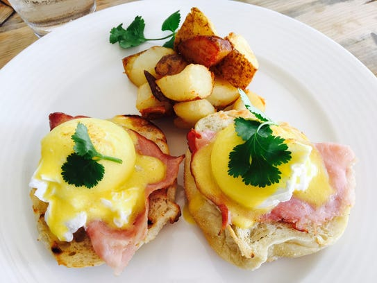 Eggs Benedict at Fire and Ice at the Blue Haven resort