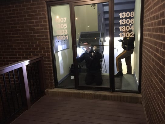New Castle County police on Monday evening examine