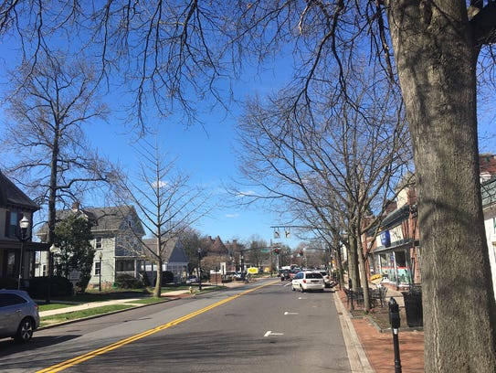 Cars are shown parked along Main Street in Moorestown.