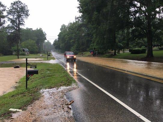 Flooding on Selma Highway in Prattville on Sunday morning.