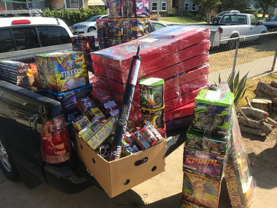 About 600 pounds of illegal fireworks were taken from