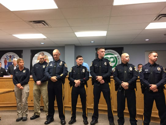 From left, members of the Mount Olive Police Department