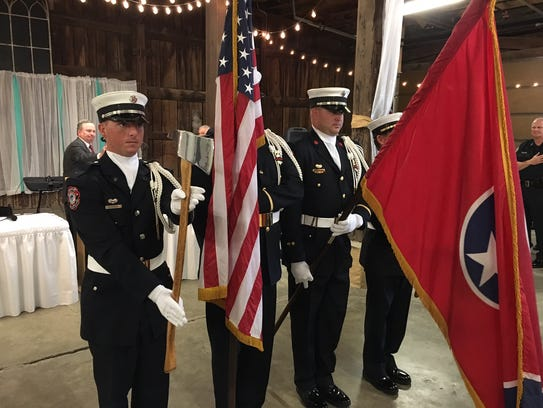 The Gallatin Fire Department Honor Guard leads the